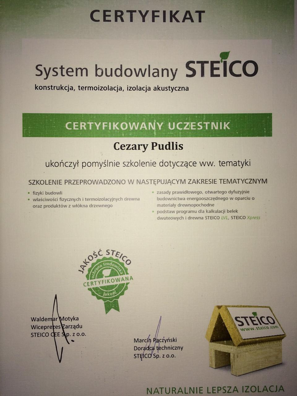 certyfikat steico